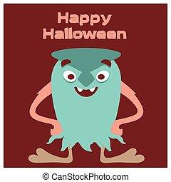 zielony, uśmiechanie się, halloween, potwór, powitanie