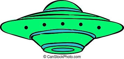 zielony, ufo, biały, tło., wektor, ilustracja