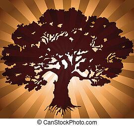 zielony, wektor, drzewo, tło, pękać