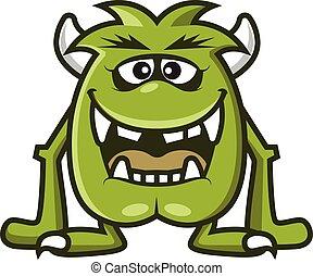 zielony, wektor, róg, śmiejąc., rysunek, sprytny, halloween, ilustracja, potwór, -