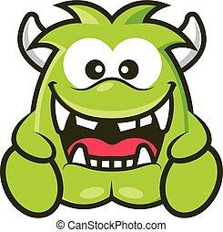 zielony, wektor, róg, rysunek, sprytny, halloween, ilustracja, potwór, śmiejąc.