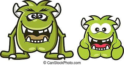 zielony, wektor, róg, rysunek, sprytny, halloween, ilustracja, potwory, śmiech, 2, razem.