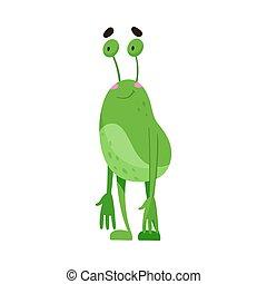 zielony, zabawny, antena, stanie uśmiechnięte, wektor, ilustracja, potwór