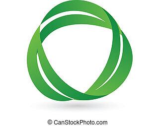 zielony, zdrowie, liście, logo