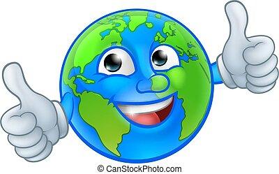 ziemia, świat, litera, maskotka, rysunek, kula
