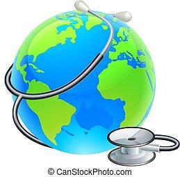 ziemia, świat, stetoskop, kula