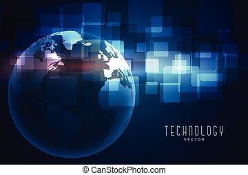 ziemia, błękitny, palcowa technologia, tło, sieć