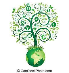 ziemia, drzewo, zielony