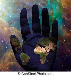 ziemia, galaktyczny, ręka