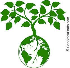 ziemia, graficzny, drzewo