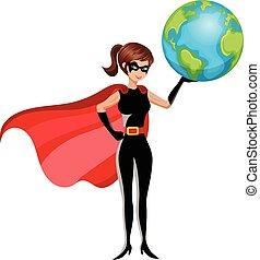 ziemia, kobieta, superhero, odizolowany