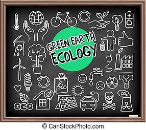 ziemia, komplet, ekologia, zielony, doodle