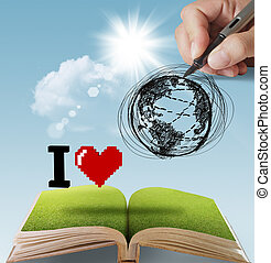 ziemia, pociągnięty, miłość, ręka