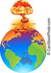 ziemia, pojęcie, wybuch, nieszczęście