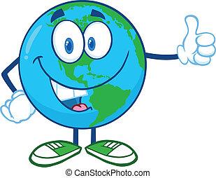 ziemia, pokaz, litera, kciuki do góry