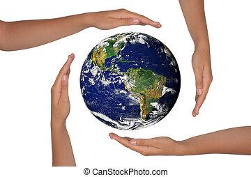 ziemia, siła robocza, prospekt, dookoła, satelite