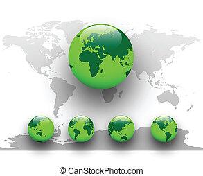 ziemia, zielony, globe., świat