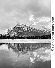 zima, banff, kanadyjczyk, krajowy, rockies, park, jeziora, vermilion, podczas