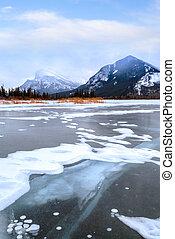 zima, banff, mrożony, narodowy park, jeziora, vermilion