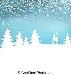 zima, boże narodzenie, forest., tło., deer., wróżka, biały, krajobraz