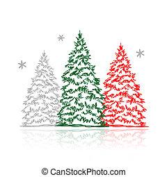 zima drzewa, ręka, projektować, pociągnięty, twój