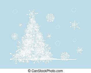 zima drzewo, twój, holiday., boże narodzenie, design.
