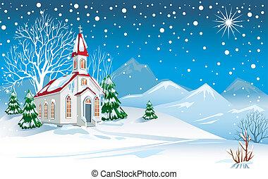zima krajobraz, kościół
