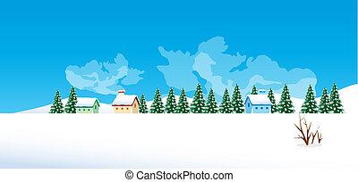 zima krajobraz, wieś