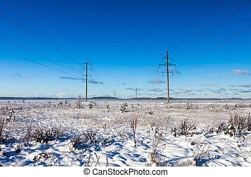 zima, moc, śnieg, kwestia, pole
