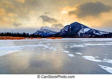 zima, mrożony, jeziora, vermilion, rano, przeziębienie