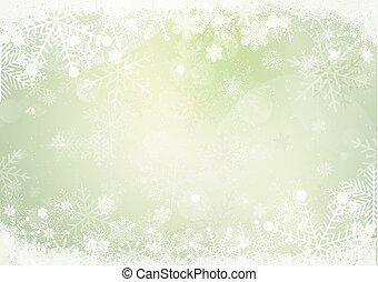 zima, nachylenie, śniegowa zieleń, brzeg, płatek śniegu
