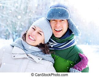 zima, para zwolnienie, snow., zabawa, outdoors., posiadanie, szczęśliwy