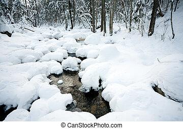 zima, pod, śnieg, rzeka, las