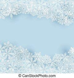 zima, tło, płatki śniegu