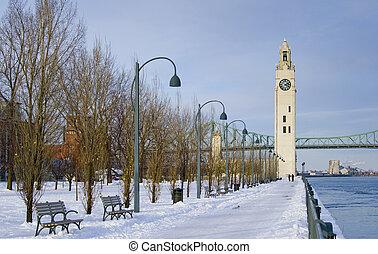 zima, zegar, park, śnieg, wieża, rzeka, montreal