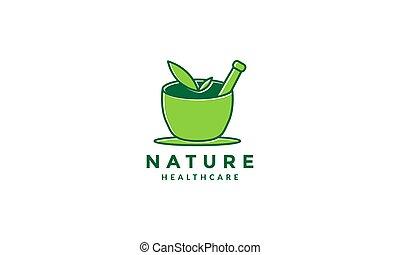 ziołowy, zielony, wektor, graficzny zamiar, medycyna, natura, symbol, logo, ilustracja, ikona