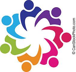 zjednoczenie, logo, wektor, teamwork, ludzie