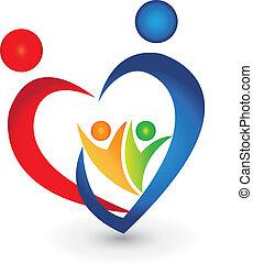 zjednoczenie, sercowa forma, rodzina, logo