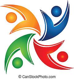 zjednoczenie, swooshes, teamwork, logo