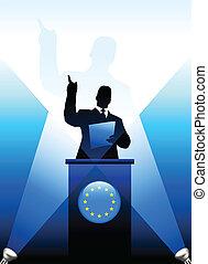 zjednoczenie, udzielanie, mowa, rusztowanie, lider, europejczyk