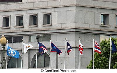 zjednoczenie, waszyngton dc, na, stan, stacja, bandery