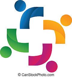 zjednoczenie, wzmacniacz, drużyna, logo