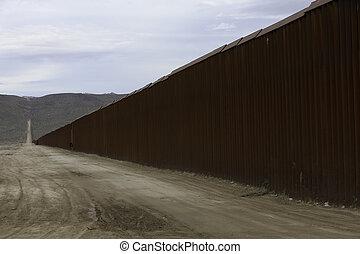 zjednoczony, ściana, stany, brzeg