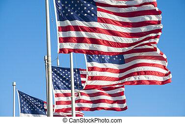 zjednoczony, bandery, ameryka, stany
