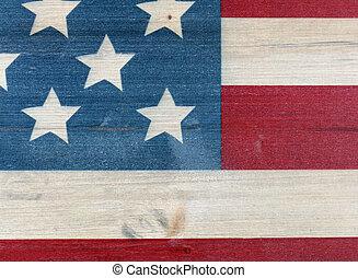 zjednoczony, barwiony, rocznik wina, stany, drewniany, bandera, tło