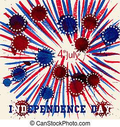 zjednoczony, flag., u.s., states., powitanie karta, dzień, niezależność