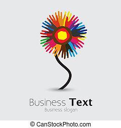 zjednoczony, flower-, ludzie, inny, graphic., współposiadanie, dłoń, reputacja, &, braterstwo, uniwersalny, barwny, drużyna, ilustracja, ręka, porcja, wyobrażenia, poparcie, to, etc, wektor, każdy, znaki firmowe