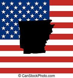 zjednoczony, -, ilustracja, stany, stan, arkansas, ameryka