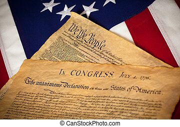zjednoczony, konstytucja, declaratin, stany, bandera, niezależność