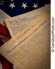zjednoczony, konstytucja, stany, bandera, tło, deklaracja, niezależność